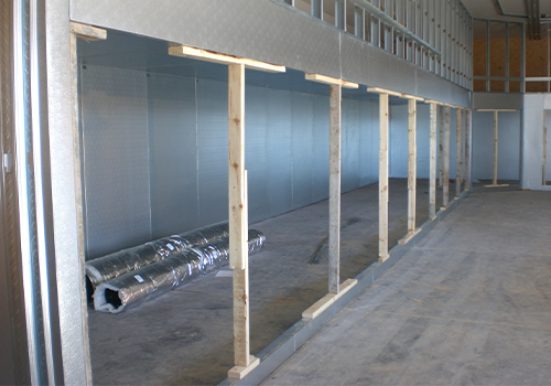 Construction of a custom, commercial walk-in freezer