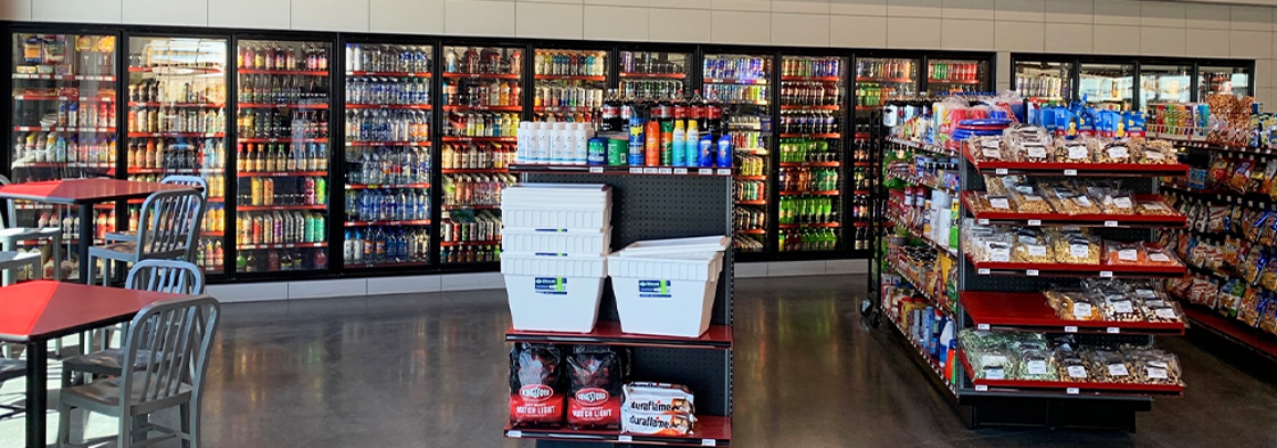 Recently updated interior of a store with commercial refrigeration